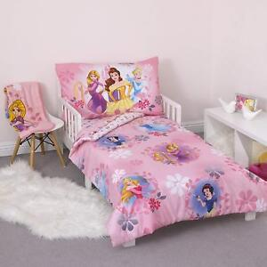 Details About Toddler Bedding Set Disney Pretty Princess 4 Piece Girl Bedroom Pink Decoration