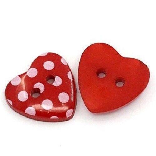 10 PZ Love a Forma di Cuore Rosso in Resina da cucire bottoni Scrapbooking Puntini Decorazione 268