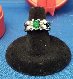 RING Size 6 - Green Color Stone & Silver Band with Gift Box SALE
