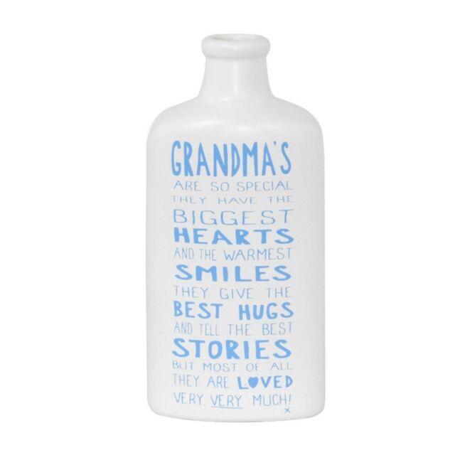 Message On A Bottle Grandma Ceramic White Blue Sentiment Message Bottle Keepsake