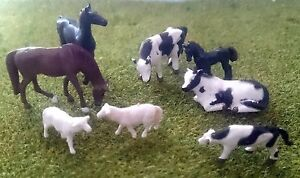 1-87-Scale-HO-OO-Gauge-Model-Railway-8-Mixed-Farm-Animals-Cows-Horses-Sheep