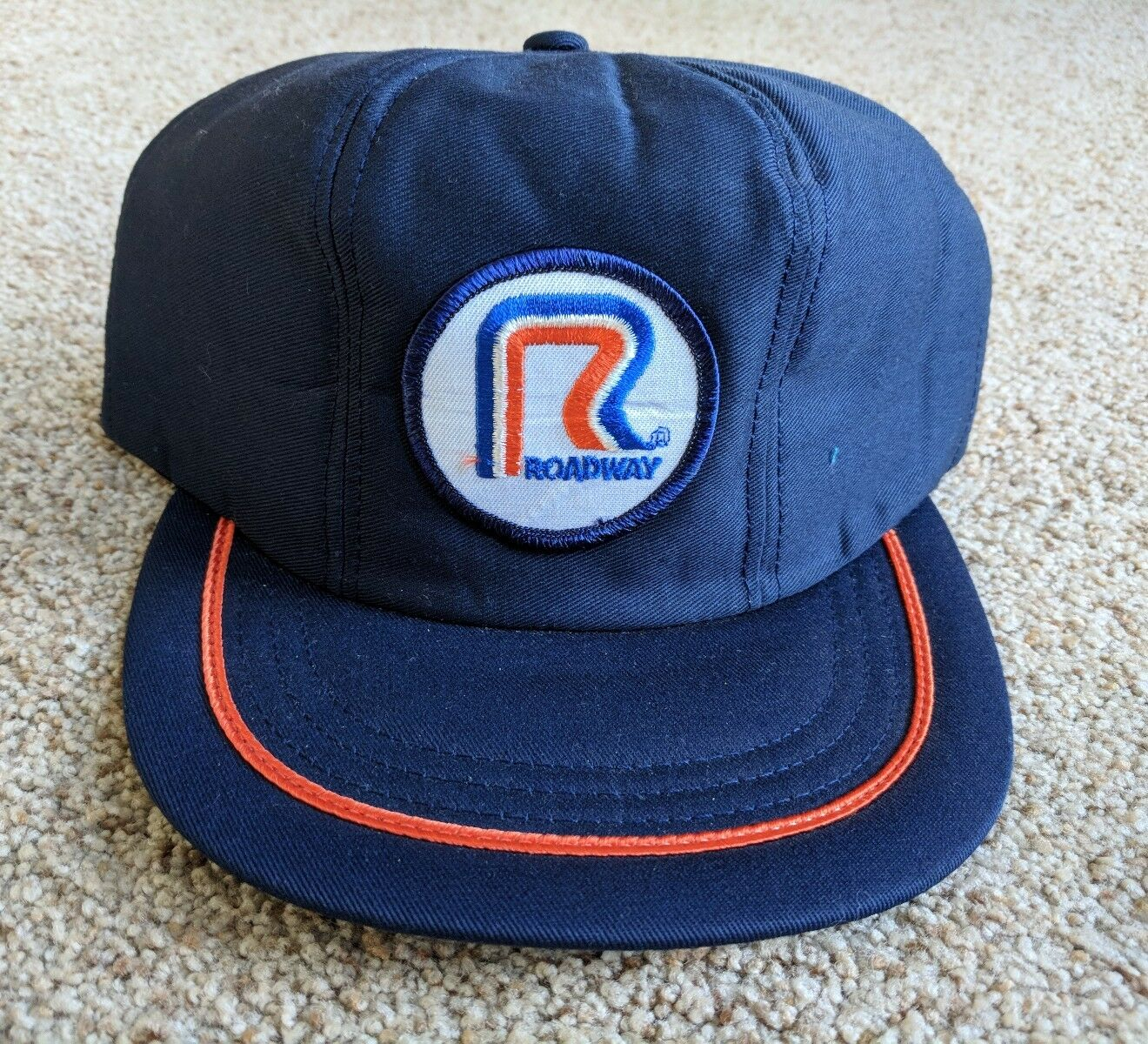 Roadway Trucker Hat Blue Orange Embroidered Adjustable Patch Snapback Adjustable Embroidered Made in US abcea6