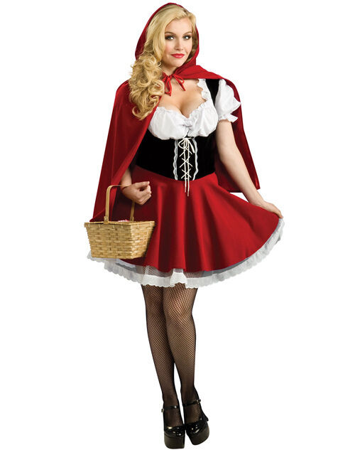 Plus Size S-6XL Little Red Riding Hood Fancy Dress Halloween Fairytale Costumes