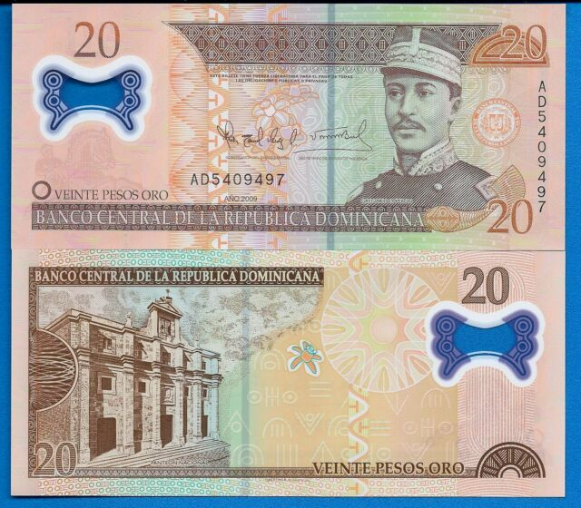 Dominican Republic P-182 20 Pesos Year 2009 Uncirculated Polymer Banknote