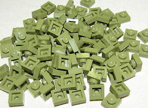 LEGO LOT OF 100 NEW OLIVE GREEN 1 X 1 PLATES BUILDING BLOCKS BRICKS