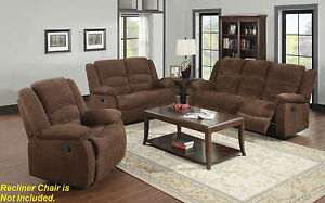 Motion Sofa & Loveseat 2pc Sofa Set Dark Brown Chenille Fabric Living Room Couch