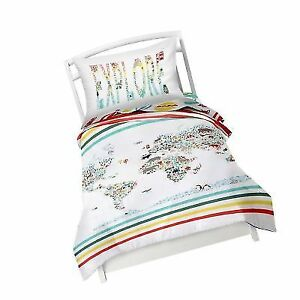 Twin World Map Reversible Duvet Cover Set With 1 Pillowcase for Kids ...