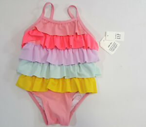 NWT-Baby-Gap-Girls-Size-0-6-12-18-24-Months-Rainbow-Ruffle-Swimsuit-Bathing-Suit
