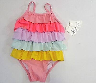 NWT Baby Gap Girls Size 6-12 Months Rainbow Ruffle Swimsuit Bathing Suit