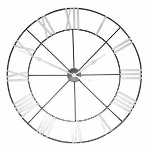 Extra-Large-102cm-Black-amp-Silver-Metal-Wall-Clock-with-Roman-Numerals-Unique