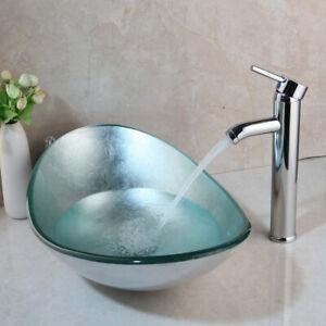 Modern Chrome Tempered Glass Vessel Sink Waterfall Faucet Combo Set Ebay