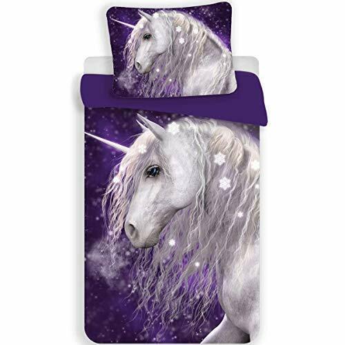 Housse de Couette Coton 140 x 200 cm Parure de lit Licorne Purple