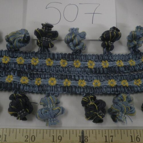 "9 yds Decorative FLOWERS BALL//ONION FRINGE 2/""  BLUES//YELLOW Fabric Trim F507"