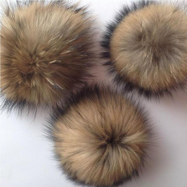 10cm Raccoon Fur Fluffy Pom Pom Ball For Hat Clothing Bag Shoses Keychain ad9fefe1b88d