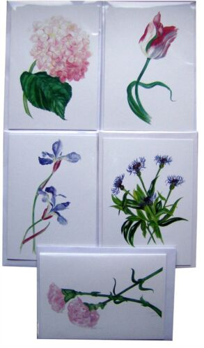 Garden Flower Cards From Original Watercolours Pack of 5 Assorted