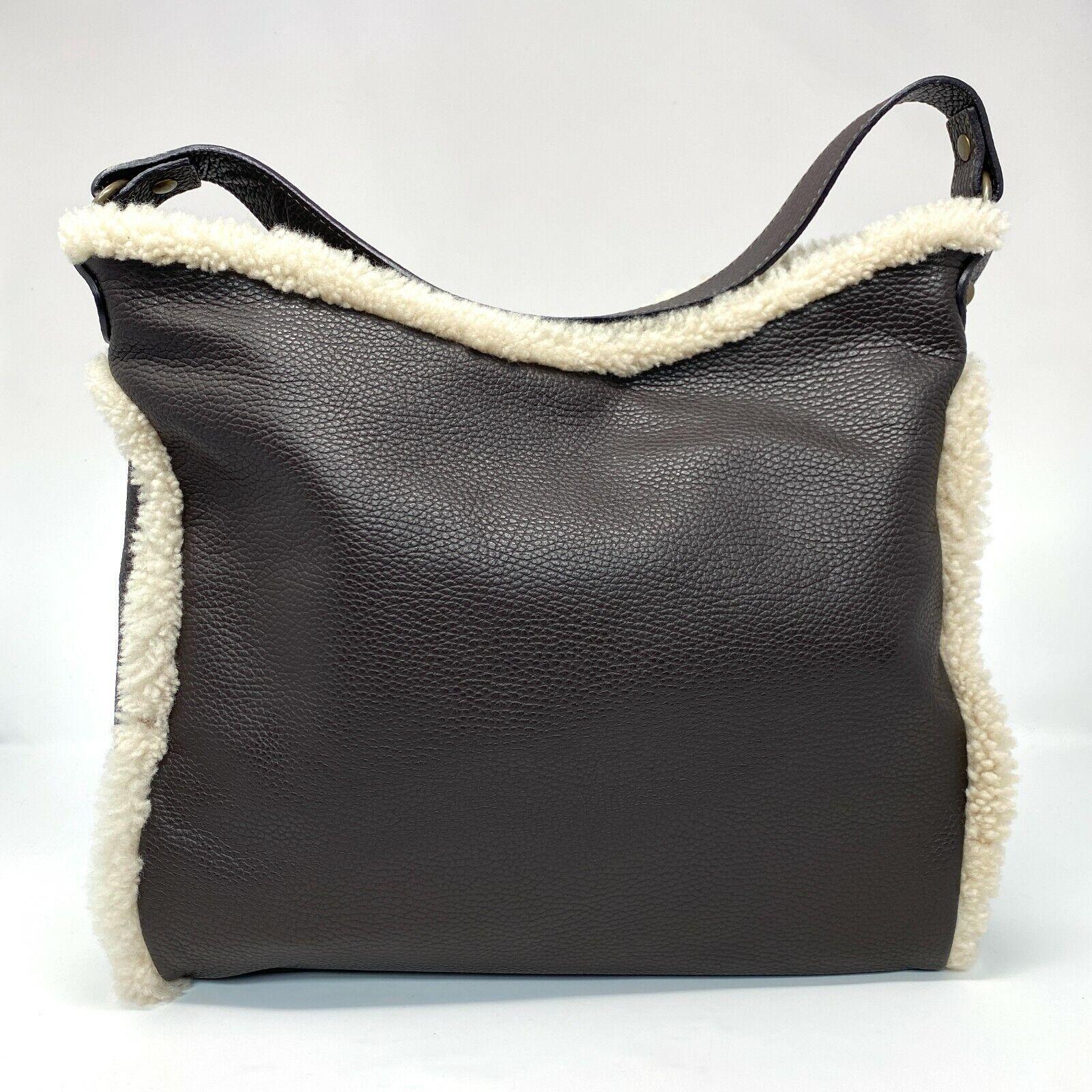 Sundance Italy Brown Leather Cream Shearling Trim Hobo Shoulder Handbag Purse