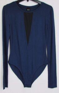 Dolce-Vita-Women-039-s-Long-Sleeve-Sexy-Bodysuit-Blue-amp-Black-Size-S