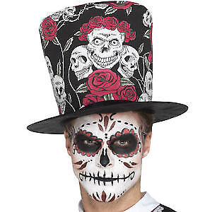 Day of the Dead Skull /& Rose Top Hat Adult Mens Halloween Fancy Dress Accessory