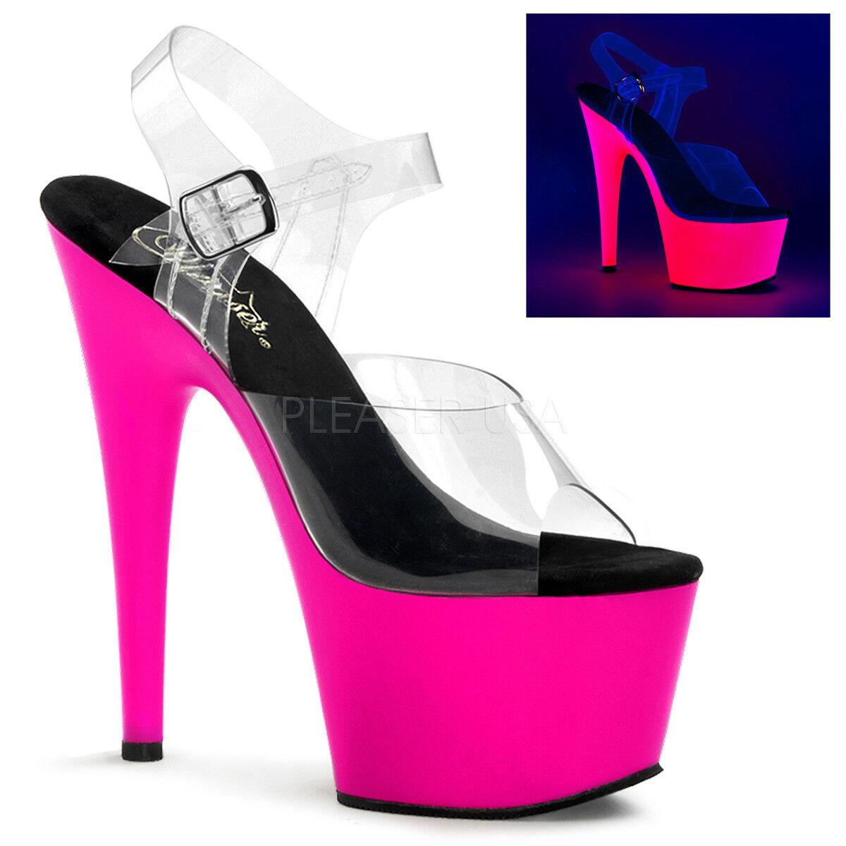 PLEASER ADORE 708UV NEON DANCING PINK PLATFORM POLE DANCING NEON STILETTO SANDALS Schuhe adc105