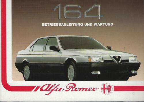 ALFA ROMEO 164 manuale di istruzioni 1989 MANUALE MANUALE bordo libro BA