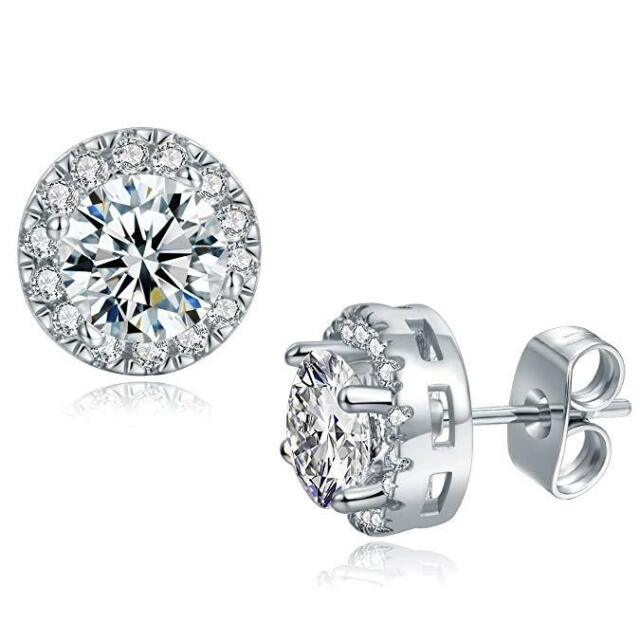 3 44 Cttw Halo Stud Earrings Made With Swarovski Elements In White Gold Plated