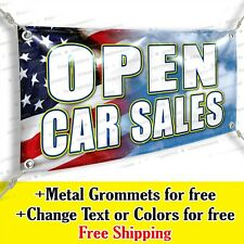 Open Car Sales Custom Vinyl Banner Advertising Sign Usa Flag