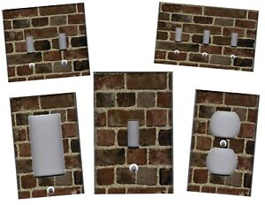 Brown Bricks With Grey Mortar Home Wall Decor Light Switch Plates