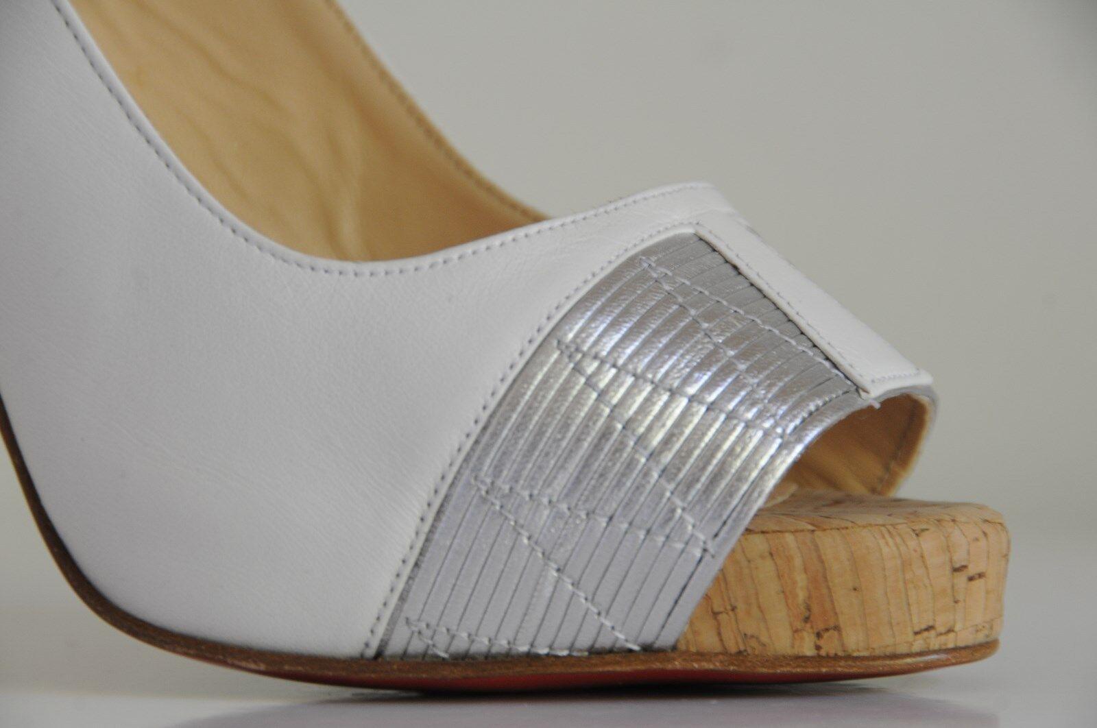 New Christian Louboutin Moyen Moyen Moyen Prive White Silver Cork Sling Platform Heels shoes 404d28