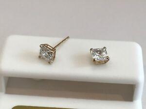 00c89f1df 10K SOLID YELLOW GOLD STUD EARRINGS W/ .50 CT LAB DIAMONDS PRINCESS ...