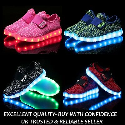 Niños entrenadores LED Luz USB carga Zapatos Zapatillas Sneakers for boys & girls