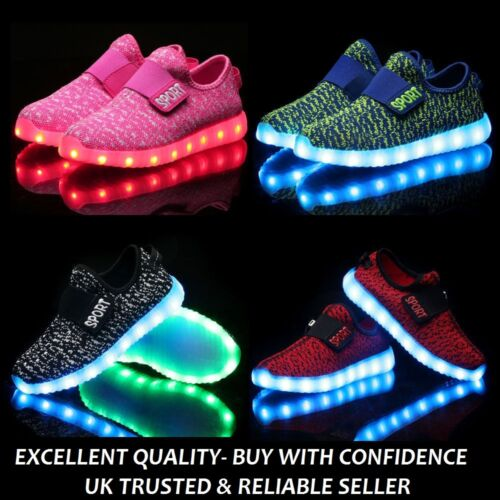 KIDS LED Trainers Light Up USB Charge Shoes Trainers Sneakers for Boys /& Girls