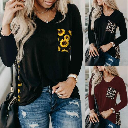 Womens Long Sleeve V Neck T Shirt Blouse Ladies Leopard Sunflower Pullover Tops