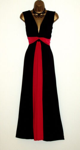 Long Black//Red Contrast Knot Panel Grecian Maxi Party Evening Dress Size 10-26