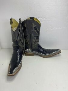 BLACK LEATHER SNAKESKIN COWBOY RODEO WESTERN BOOT SIZE 7.5 EEUU