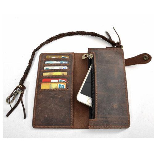 Vintage Men Leather Long Chain Wallet Card Holder Checkbook Trucker Biker Purse