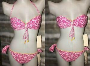 Hula-Honey-Pink-2-Piece-Triangle-Bikini-Swim-Set-Convertible-Adjustable-14-XL