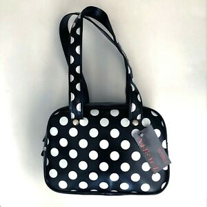 Gothic-Horror-Punk-Rockabilly-80s-90s-Vegan-Black-White-Polka-Dot-Purse-Handbag