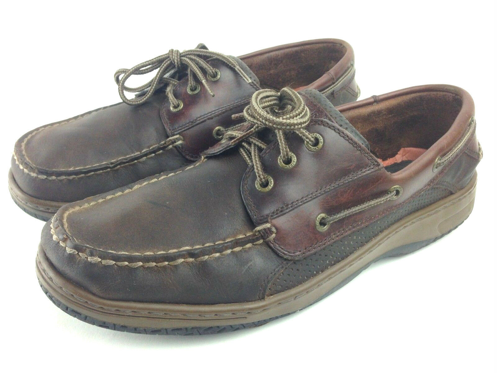 Sperry Top Sider Mens 12M Brown Two Tone Conditioned Leather Casual Boat Loafers