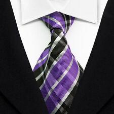 Striped Men's Ties Classic Jacquard Woven Silk Tie Suits Necktie Purple L061