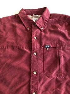 The-North-Face-Button-Front-Shirt-Men-039-s-S-Modal-Polyester-Shirt-Maroon-Red-L-S