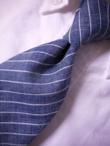 ~ NWT USA New BROOKS BROTHERS Neck Tie Slim Blue Stripe Silk//Linen