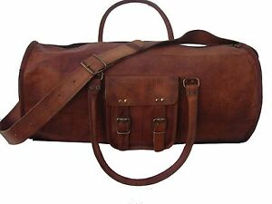 New-Men-039-s-duffel-genuine-Leather-large-vintage-travel-gym-24-034-lightwieghted-bag