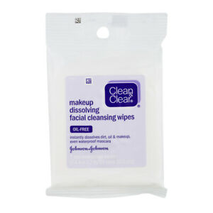 Clean & Clear Makeup Dissolving Facial Cleansing Wipes 7 =21 TOTAL (PACK of 3)