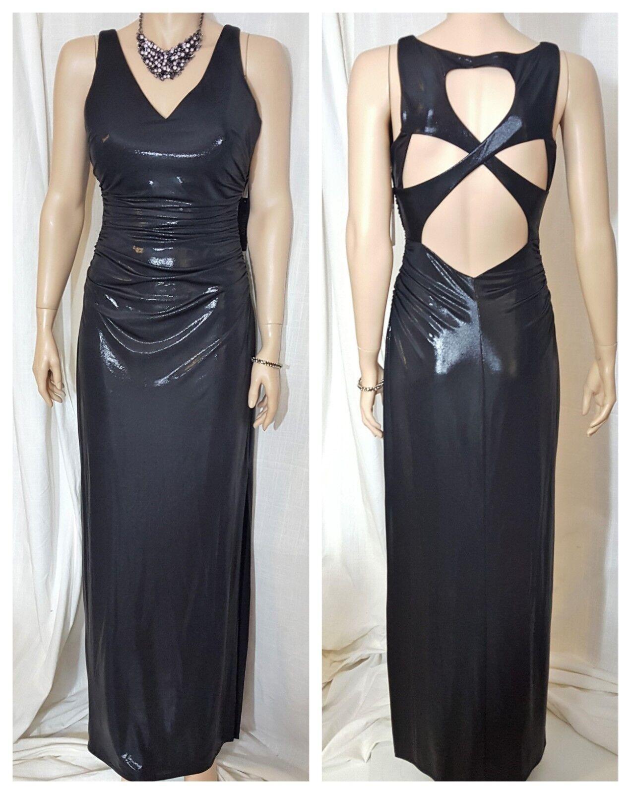 Laundry by Shelli Segal Metallic schwarz V Neck Cutout Dress Gown Sz. 6