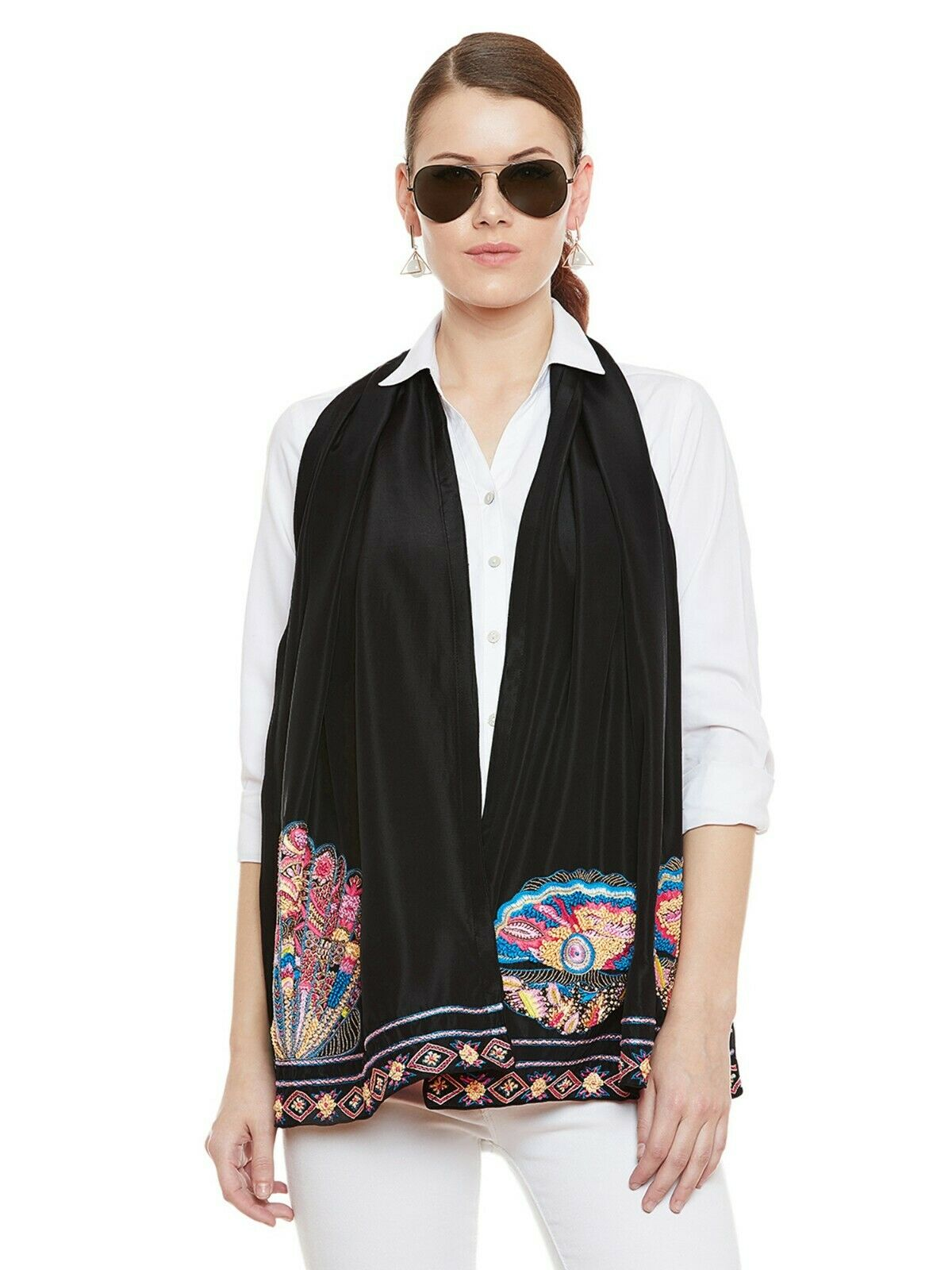 AMANDLA Fiery french knotted and tassel finished hand embroidered stole (black)
