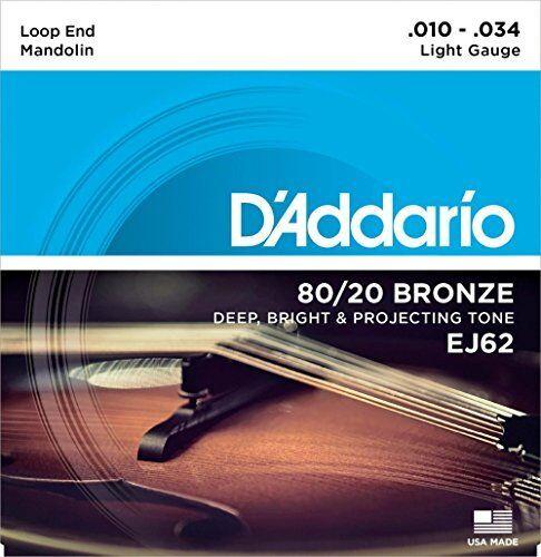 10-34 D/'Addario EJ62 80//20 Bronze Mandolin Strings Light