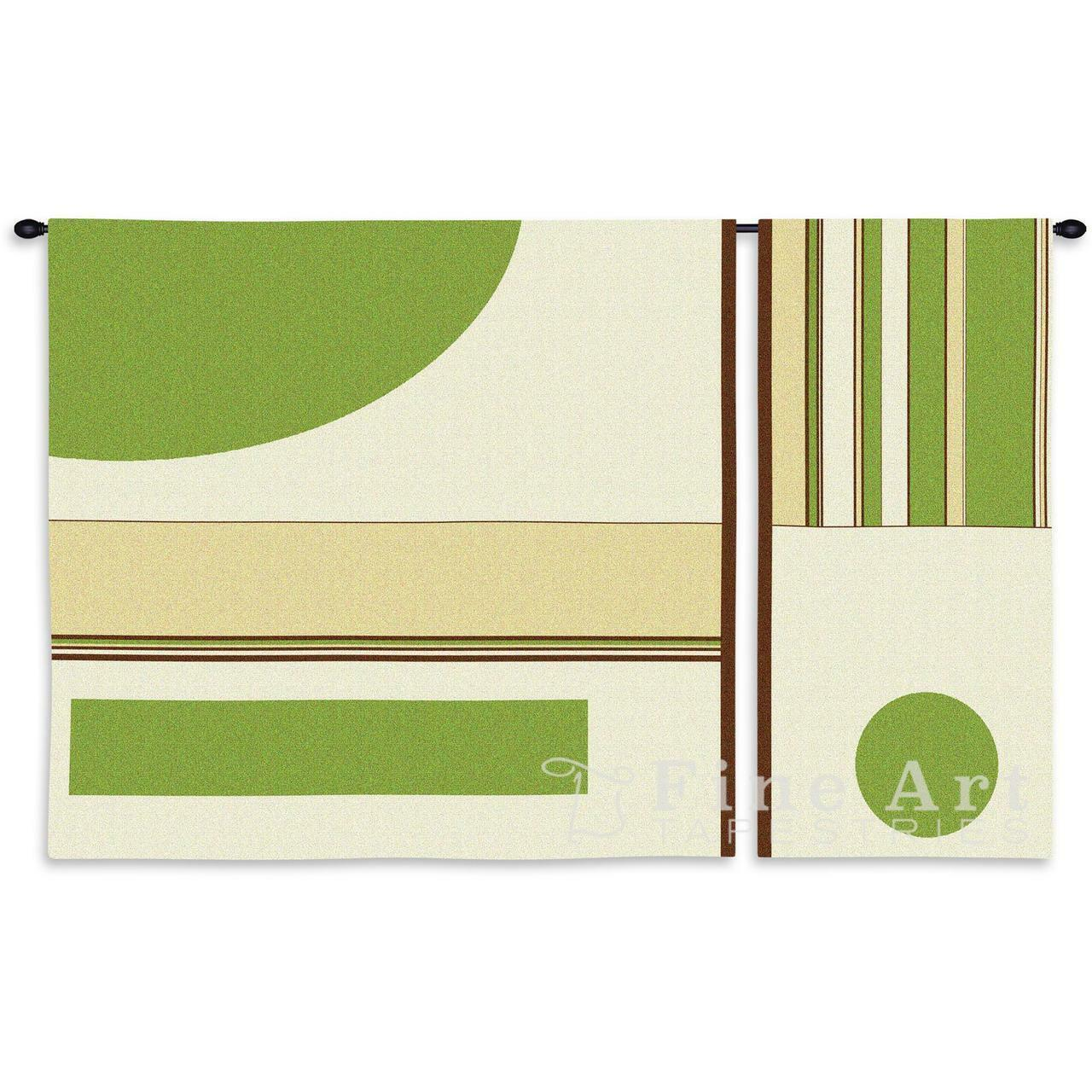 Linen Lime Contemporary Modern Wall Tapestry 36 X43