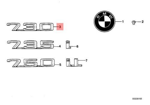Genuine BMW E32 Trunk Lid Chrome 730 Emblem Badge Logo Sign OEM 51141928648