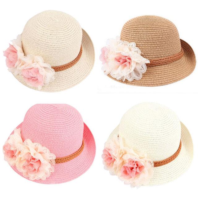 Fashion Kids Baby Girls Straw Sun Straw Hat Summer Flower Beach Cap