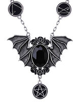 Restyle Necronomicon Bat Necklace Gothic Witchy Occult Lovecraft Jewelry